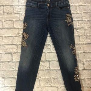 White House Black Market Embellished Slim Jean
